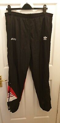 34W  ADIDAS Vintage Shell Suit Tracksuit Pants Trousers Bottoms MUFC red