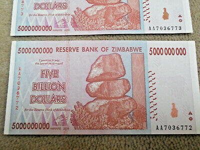 THREE x ZIMBABWE 5 BILLION DOLLAR BANKNOTE CIRCULATED GOOD CONDITION AA prefix
