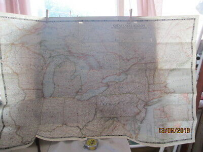 Vintage National Geographic Map Of Great Lakes Of Usa And Canada Dec.1953