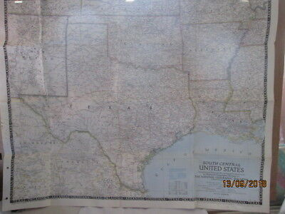 Vintage National Geographic Map Of South Central United States Dec. 1947