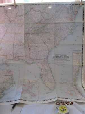 Vintage National Geographic Map Of South Eastern United States 1947