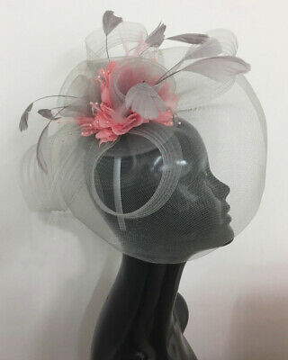 Silver Grey and Dusty Pink Fascinator Hat Hatinator Headband Hair Clip Wedding