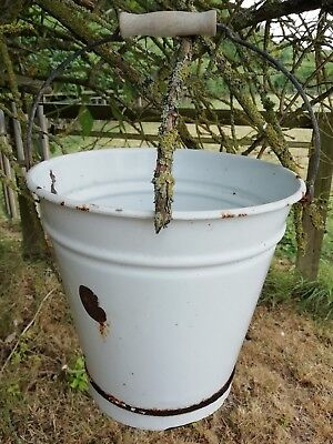 Vintage French White Enamel Metal Bucket Pail Plants Garden Display Flowers