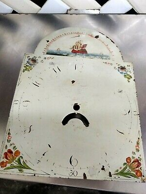 "Old Grandfather LONG CASE Clock HAND PAINTED FACE only AS SEEN 17"" X 12"""