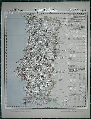1883 Letts Map ~ Portugal Imports Exports Algarve Beira Supply