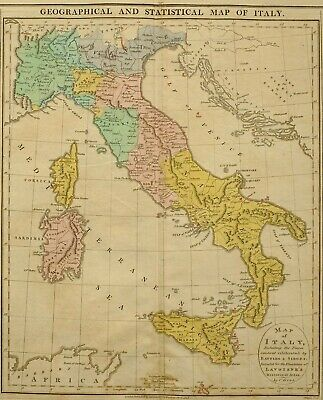 1813 Large Hand Coloured Map Italy With Battles Sieges Statistical Geographical