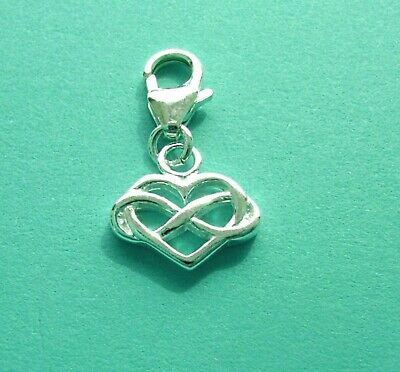 925 CLIP ON Solid Sterling Silver INFINITY HEART CHARM PENDANT on Lobster Clasp