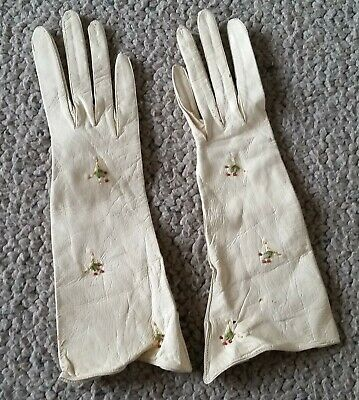 antique kid leather gloves made in Belgium fine glass bead decoration small