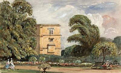 CROUGHTON NORTHAMPTONSHIRE Small Victorian Watercolour Painting 19TH CENTURY