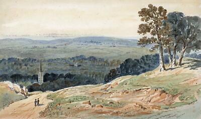 CHURCH IN LANDSCAPE POSSIBLY WALES? Victorian Watercolour Painting 19TH CENTURY