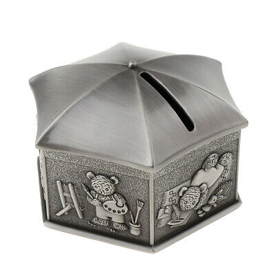 Vintage Zinc Alloy Bear Money Box Saving Pots Coins Piggy Bank - Hexagon Box
