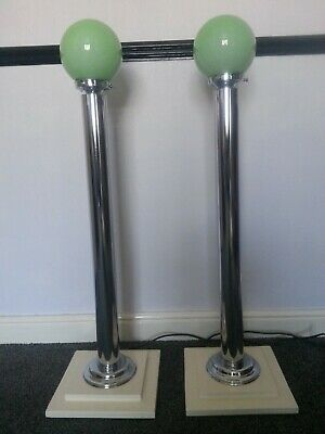 Art Deco Rare Pair Chrome Plated Floor Lamps