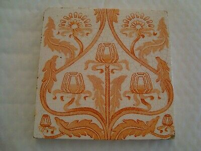 Antique Art Nouveau Stylised Tulip tile in light orange colour  20/49