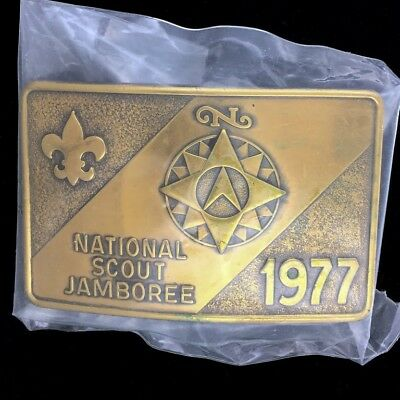Vtg 70s Boy Scouts America Bsa National Jamboree Scouting Nos Brass Belt Buckle