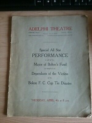 Music Hall Show At The Alelphi Theatre London For Bolton F.c Cup Tie Disaster