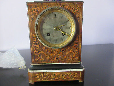 19 century rosewood inlaid mantel clock , working height 20 cm, Width 13.4cm