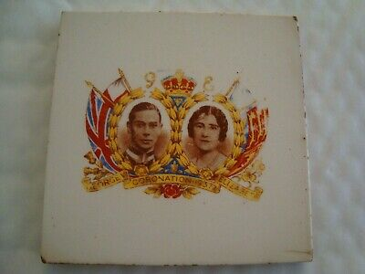 T & R Boote George V1 Elizabeth Coronation 1937 commemorative ceramic tile 20/50