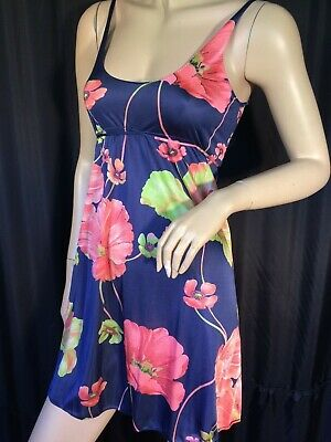 70's vintage Negligee nightgown XS pinup Mod chemise Floral sleeveless Sissy