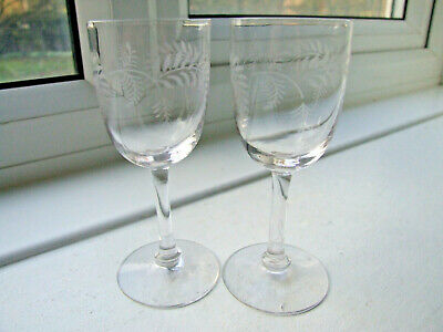 Pair of Antique Sherry/Liqueur/Cordial Glasses with etched Foliage pattern