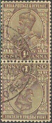 1926-36 India #108a Used King George V Se-tenant Pair. Hard to find used