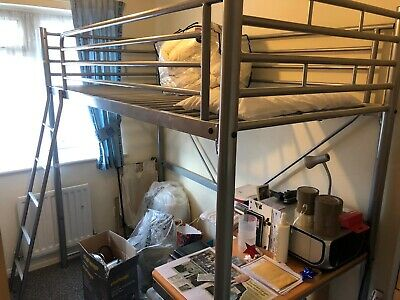 High Sleeper Metal Bed With Futon And Desk Underneath