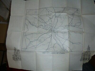 c 1950s Map of Paris, with unusual Map of Environs of Paris to reverse