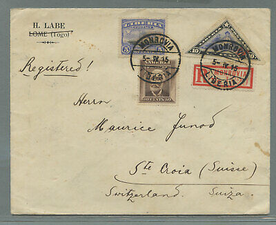 Liberia  reg cvr via Spain Monrovia > Saint Croix Switzerland 1915