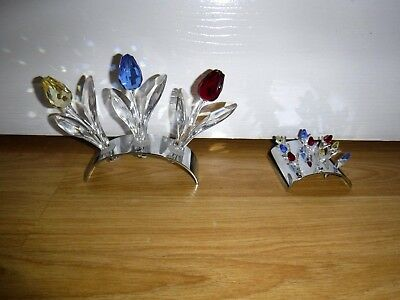 SWAROVSKI CRYSTAL ORNAMENT - TULIP COLLECTION 3 x Large + 9 x Small with Stands