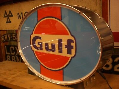 gulf,automobilia,petrolania,oil,fuel,racing,mancave,lightup sign,garage,workshop