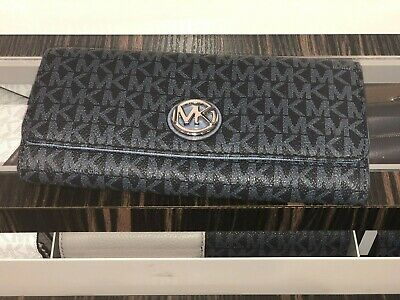 5fa75693bf97 Michael Kors MK Signature Fulton Flap Continental Carryall Admiral Denim  Wallet