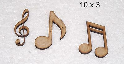 FREE Gi #02 Pk of 30 10sets of 3 ~ 50-75mm High MDF Clef /& Musical Notes shapes