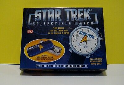 STAR TREK Collectible Watch 1998 Plays song/Ship orbits watch/Box factory sealed