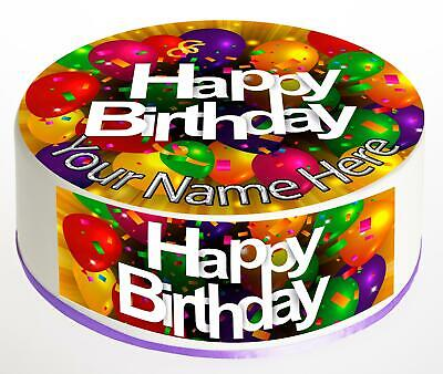 Icing sheet 1047 Cupcake Topper HAPPY BIRTHDAY BALLOONS personalised Rice