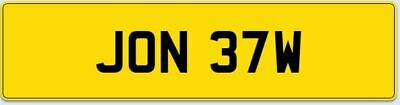 Personal Number Plate JON 37W