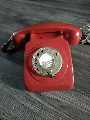 Red Rotary Dial Vintage BT Telephone