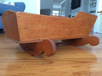 Antique Hand Crafted Wooden Rocker -- Baby Cradle--1920's Cherry finish