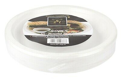 100 High Quality Extra Strong Disposable Plastic Plate Microwave Safe 10'' WHITE
