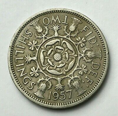 Dated : 1957 - One Florin - Two Shillings Coin - Queen Elizabeth II