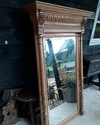Large Antique Vintage Oak Mirror Floor Mirror Bedroom Living Etc