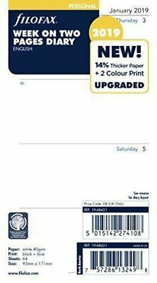 Filofax 2019 Personal size Diary - Week On Two Pages Insert Refill I9-68421
