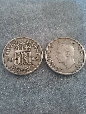 1948 KING GEORGE VI SILVER SIXPENCE Lucky Coin 71st BIRTHDAY