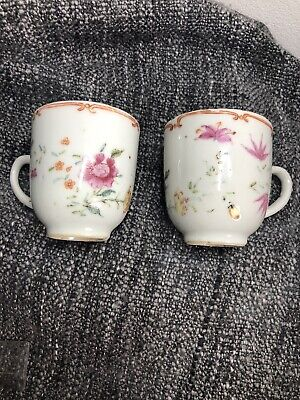 Pair Of Early Antique 18C Chinese Qing Dynasty Tea Cups Circa 1730