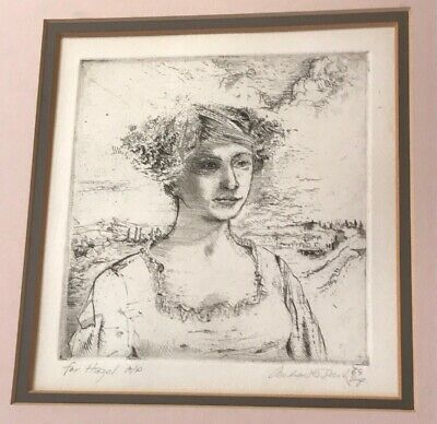 "Etching American Andrew Rush Artist Proof Woman Female Portrait ""For Hazel"""