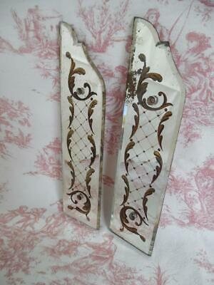 2 Antique French Mirrored Glass Finger Plates