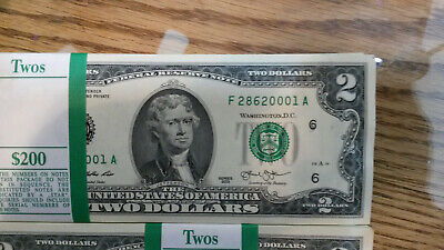 Uncirculated Two Dollar ($2) Bills Green Seal Notes - Lot of $50