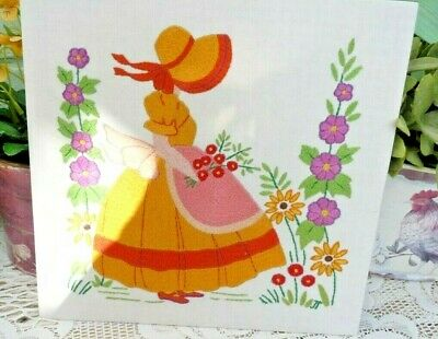 Vintage Hand Embroidered Picture Panel ~ Crinoline Girl With Hollyhock & Daisies