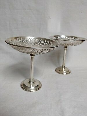Antique Edwardian Sterling Silver Pair Tazza Dishes/ Chester/ Saunders & Sheperd