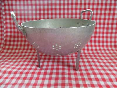 Vintage French Aluminium Colander On Legs