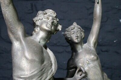Decorative Pair of Antique French Spelter Figurines ~ The Hunter & Huntress