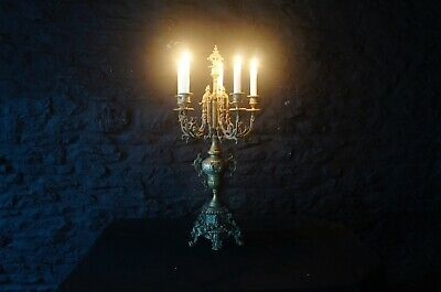 Large Victorian Six Sconce Brass Candelabra ~ 19th Century French Rococo Revival